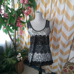 B Jewel Size S Black Silver Sequin sheer tank top